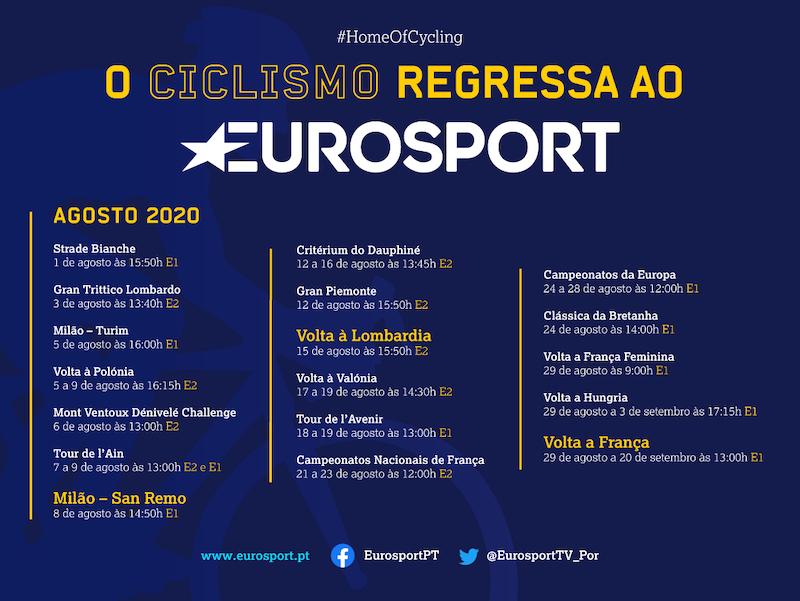 Eurosport vai transmitir 17 provas de ciclismo em agosto